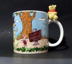 Disney Winnie the Pooh Mug 3D Sitting Pooh on Handle Christopher Robin Piglet