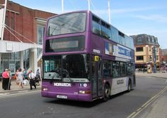 The 28th June also saw another liveried bus on the town's service 8, between Caister's Marram Drive and the James Paget Hospital. Recently it had seen the use of yellow and pink liveried deckers and that afternoon a purple one was to be seen on the route!