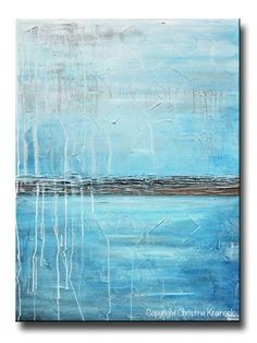 """Clarity"" Original Art Blue Abstract Painting. Stunning, modern, highly textured, large art, wall art, coastal home decor. Modern palette knife contemporary painting w serene ocean blue, aqua blue, light blue, grey, brown, white exuding the calm watery feel of water/ocean/rain. Mixed media acrylic on 30x40"" canvas. Beautiful organic, weathered effect. Artist, Christine Krainock"