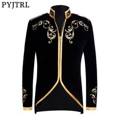 Buy it before it ends. There is always many products on sae upto - PYJTRL British Style Palace Prince Fashion Black Velvet Gold Embroidery Blazer Wedding Groom Slim Fit Suit Jacket Singers Coat - eTrendings Dress Suits For Men, Mens Suits, Men Dress, Buy Suits Online, Princes Fashion, Moda Indiana, Mandarin Collar Jacket, Slim Fit Suits, Blazer With Jeans
