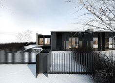 This concrete house is a luxury single family home located in Grudziądz, Poland and designed by Tamizo Architects. The house has gorgeous modern design with a striking dark grey tone Minimal Architecture, Residential Architecture, Contemporary Architecture, Architecture Design, Architecture Interiors, Tamizo Architects, Concrete Houses, Roof Styles, Container House Design