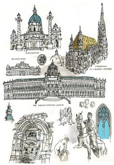 Architecture is one of my favorite things to draw. Here are sketches of some beautiful buildings in Vienna.