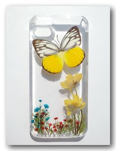 Handmade iPhone 5 case, Resin with Dried Flowers and Real butterfly (3)