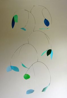 Turquoise and Blue Leaves Mobile - re-purposed / up-cycled /  recycled plastic…