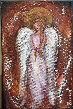 The Lord Blesses 4 x 6 original small angel painting by Florinda