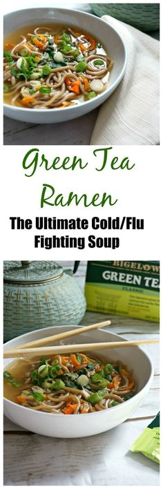 The Ultimate Cold and Flu Fighting Soup: Green Tea Ramen. The powerful benefits of green tea, fresh garlic, fresh ginger all served up in a warming, comforting Asian Soup. You are guaranteed to feel better in no time! @bigelowtea