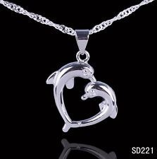 HOT 925 Sterling Silver 2-Dolphin Necklace Pendant For Necklace