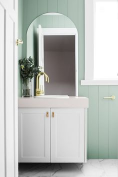 Interior design Lydia Maskiell / Photography Anjie Blair / Wall painted in Dulux Bamboo Shoot Downstairs Bathroom, Bathroom Renos, Grey Bathrooms, Bathroom Stuff, Bathroom Ideas, Pastel Bathroom, Russell House, Greenhouse Interiors, Hanging Rail