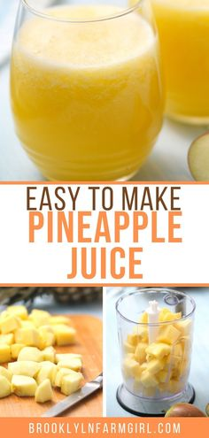 HEALTHY, 2-ingredient Apple Pineapple Juice! This fresh homemade juice is made with just one Fuji apple and one pineapple! It's perfectly balanced between sweet and tart and it has so many health benefits, including detox and weight loss! Fruit Recipes, Easy Healthy Recipes, Baby Food Recipes, Sweets Recipes, Drink Recipes, Pasta Recipes, Homemade Juice Recipe, Homemade Dog, Healthy Make Ahead Breakfast