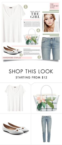 """White T-Shirt"" by tawnee-tnt ❤ liked on Polyvore featuring H&M, Ted Baker, Marc Jacobs, Frame Denim, Maybelline, Kershaw and WardrobeStaple"