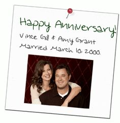 Happy Anniversary To Amy Grant And Vince Gill – Married On This Day (March In 2000 Amy Grant, Vince Gill, Male Artists, Country Couples, Christian Music, Happy Anniversary, Country Music, March, Singer