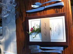 Simple napkin treatment menu wine country wedding magnolia event design