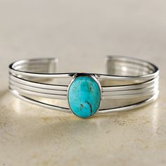 Navajo Turquoise and Sterling Cuff Bracelet | National Geographic Store