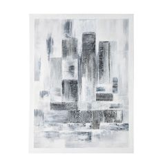 Maison du monde toile peinte main blanche 100 x 100 cm - Tableau coeur maison du monde ...