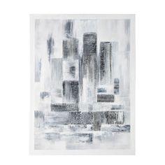 Maison du monde Toile peinte main blanche 100 x 100 cm COSMOS 69,99 ...