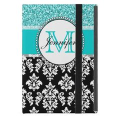 Girly, Teal, Glitter Black Damask Personalized Cover For iPad Mini Girly, teal glitter printed, black and white damask you can personalize with your monogram initial and your name. A cute monogrammed design for her. Glitter is a PRINTED photo effect. Damask Gallery© Other colors and styles available in our shop at www.zazzle.com/DamaskGallery* #cute #monogram #fun #elegant #chic #girly #stylish #affordable #teal #personalized #create #your #own #monogrammed #damask...