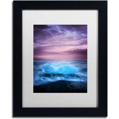 Trademark Fine Art 'Ice at Sunset' Canvas Art by Philippe Sainte-Laudy, White Matte, Black Frame, Size: 11 x 14, Multicolor