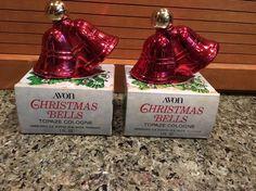 Lot of 2 - Vintage 1970's AVON Christmas Bells Topaze  Cologne 1 fl. oz.