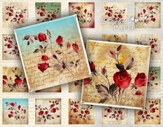 Wild Rose - squares image - digital collage sheet - 1 x 1 inch - Printable Download. $4.20, via Etsy.