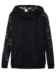 Sale 23% (14.99$) - Casual Women Lace Patchwork Lace Up Long Sleeve Hooded Sweatshirt