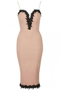 Topshop Lace Trim Plunge Bodycon Midi Dress By Rare, £49