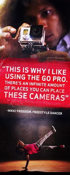 But really, with endless possibilities of places to attach it, there's no better way to capture dance moves than with a GoPro. So grab a camera, your favorite dancing shoes and a whole lot of water, then click the pin to check out some sweet moves courtesy of professional dancer, Nikki Freedom.