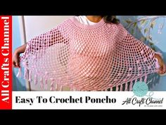 Easy to crochet poncho / Susbtitulos en español - Yolanda Soto Lopez Crochet Bobble, Stitch Crochet, Crochet Cape, Single Crochet Stitch, Crochet Scarves, Crochet Shawl, Crochet Pillow, Crotchet, Diy Videos