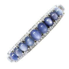 Rosamaria G Frangini  High Blue Jewellery  Platinum Star Sapphire and Diamond Bracelet