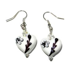 White Heart Lampwork Dangle Earrings by CloudNineDesignz on Etsy, $15.00