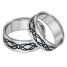 Titanium Celtic Wedding Band Ring Set in Green Mens Celtic Wedding Bands, Irish Wedding Rings, Wedding Band Sets, Wedding Jewelry Sets, Diamond Wedding Bands, Titanium Jewelry, Titanium Rings, Green Diamond, Trinity Knot