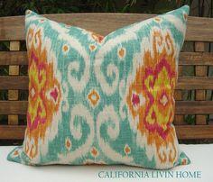 "IMAN / UBUD IKAT Pillow Cover / 20"" x 20"" / Sunstone / Decorative Pillow / Designer Fabric / Ships in 24 hrs."