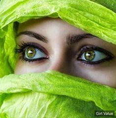 Arabic girl in beautiful green niqab with green eyes