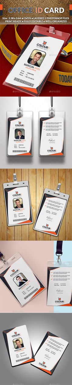 Office ID Card by sucharu_neal Specifications: - Size: (with bledd) - Resolution: 300 dpi - Color mode: CMYK - Working file: Photoshop CC - Id Card Design, Id Design, Badge Design, Graphic Design, Id Card Template, Card Templates, Employee Id Card, Member Card, Corporate Id
