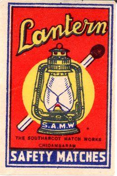 Matchbox label - India - LANTERN (Southarcot Match Works - Chidambaram) cm 3,5 x 5,2