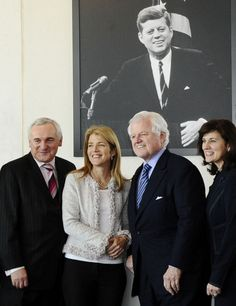 May 2, 2008 – Irish Prime Minister Bertie Ahern, Caroline Kennedy, Senator Kennedy, and Vicki Kennedy before an address by the Prime Minister at the JFK Library in Boston.