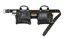 """Dewalt Carpenter's leather apron features a wide web belt with a roller buckle, 5 main pockets, 7 smaller pockets and sleeves, swinging """"snap-in"""" hammer holder. Carpenter Tool Belt, Carpenter Tools, Best Tool Belt, Tool Apron, Mechanic Gifts, Leather Apron, Apron Pockets, Leather Craft, Great Gifts"""