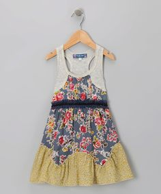 Navy & Lime Floral Dress - Girls