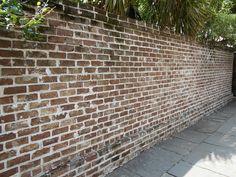 Savannah Grey handmade brick privacy wall in Savannah, Georgia Brick Garden, Brick Fence, Brick Pavers, Brick Flooring, Brick Wall, Wooden Fence, Floors, Brown Brick, Grey Brick