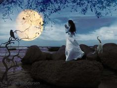 """Photo-collage: """"Singing to the moon"""" Photo Art, Mount Rushmore, Singing, Collage, Moon, Mountains, Nature, Travel, The Moon"""