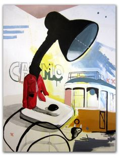 """Saatchi Art Artist Alejandra de la Torre; Painting, """"Recordando lisboa"""" #art  1/23/17: I pinned this painted piece because I find it quite comedic how the artist used a lamp for the head of the figure. The unusual shape of the figure being disguised as a lamp adds a funny touch to this busy and surreal painting."""
