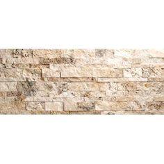 Philadelphia Travertine Split Face Random Sized Wall Cladding Mosaic in Beige and Gray