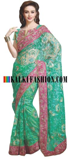 Buy Online from the link below. We ship worldwide (Free Shipping over US$100) http://www.kalkifashion.com/green-saree-embroidered-in-resham-and-zari-work.html Green saree embroidered in resham and zari work