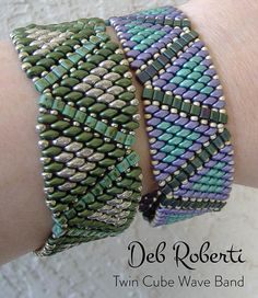 Twin Cube Wave Band beaded pattern tutorial by Deb Roberti