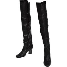 Preowned Chanel Circa 2000 Black Over The Knee Height Boots With... ($6,000) ❤ liked on Polyvore featuring shoes, boots, black, above-knee boots, black shoes, black over-the-knee boots, over-the-knee boots and striped shoes
