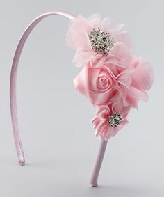 Love this Pink Rhinestone Rosette Headband on #zulily! #zulilyfinds