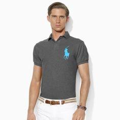 Ralph Lauren Custom Fit Mesh Polo Shirt Western Black Heather S