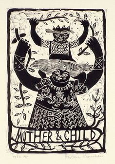 Artist: HANRAHAN, Barbara | Title: Mother and child [2]. | Date: 1964 | Technique: linocut, printed in black ink, from one block