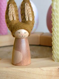 Easter Bunny for the Spring Nature Table, Waldorf Holiday Ring Decor, Rabbit, brown, spotted, wool felt, wood, Easter/ Spring decor