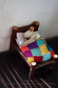 Muis - quilten - unique - naald vilten sieraad dier, vilten dromen klaar om het schip te slapen