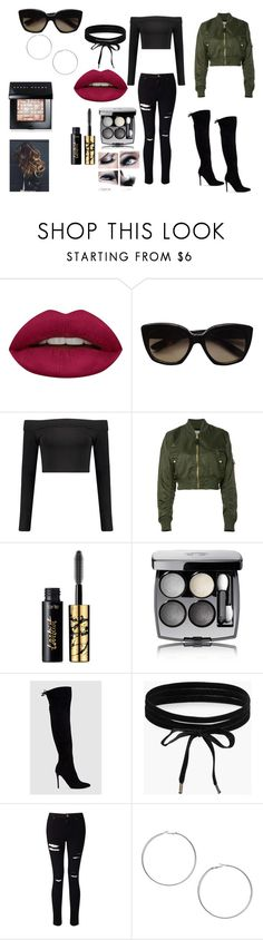 """Closest I can find to today's Outfit"" by cleverlyawesome ❤ liked on Polyvore featuring Huda Beauty, Bottega Veneta, Boohoo, Alpha Industries, tarte, GURU, Chanel, Miss Selfridge, Bobbi Brown Cosmetics and MyStyle"